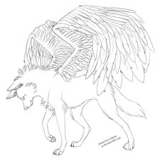 Free Lineart .:. Winged Wolf by Eredhys on deviantART