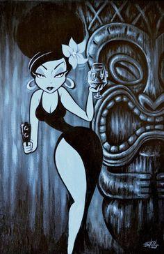 cartoon art Exotica in the Key of Murder - by Shawn Dickinson Cartoon Kunst, Comic Kunst, Anime Kunst, Cartoon Art, Anime Art, Pinup Art, Art Pop, Fantasy Kunst, Fantasy Art