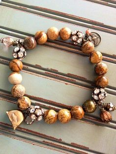 Jasper Beaded Rustic Charm Bracelet   Antique by CountryChicCharms, $50.00