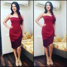 Glam Gal - Sunny Leone Glam Check - A dual toned dress with 3D triangles b Mehak Murpana paired with nude heels. Glam Tip - Tone down a bold outfit with neutral heels!  -Your Glam Pal, Srishti  #sunnyleone #mehakmurpana #3dtriangles #glamoursaga