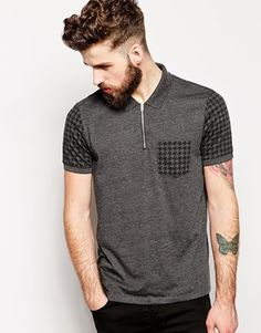 ASOS Polo Shirt With Zip Neck And Dogstooth Print