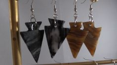 Mexican Onyx Arrowhead Earrings