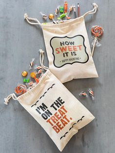 Free graphics (both available, below), plus cotton drawstring bags make trick-or-treat storing a cinch! Simply print the designs onto transfer paper, add to the front of the bag, and head to the nearest house on October 31./