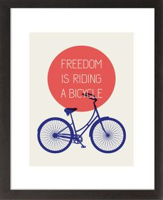 FREEDOM IS RIDING A BICYCLE 4th of July Edition Bicycle Poster Mid Century Style by 3279Press, $22.00