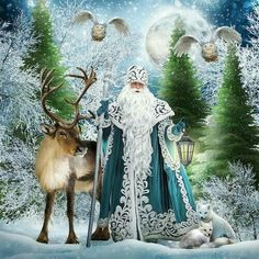 DIY Diamond Painting Blue Robe Father Christmas with Reindeer - craft kit : DIY Diamond painting. Blue Robe Father Christmas with Reindeer. Square drill, 6 kit sizes to pick from. Christmas Scenes, Christmas Past, Father Christmas, Blue Christmas, Christmas Pictures, Winter Christmas, Christmas Letters, Country Christmas, Christmas Snowman