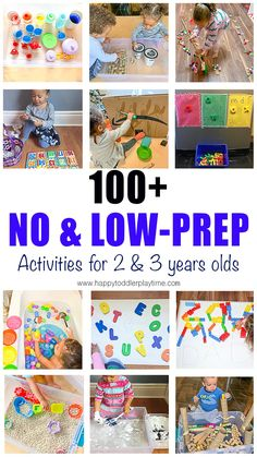No-Prep Indoor Activities for 2 & 3 Year Olds Here is a list of super easy no-prep or low-prep activities you can do at home with your toddler or preschooler during the quarantine period. Preschool Learning Activities, Indoor Activities, Infant Activities, Kids Learning, Educational Activities, Outdoor Activities For Toddlers, Learning Time, Preschool Classroom, Sensory Activities