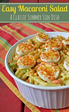 With carrots, celery and onion in a creamy sauce, Easy Macaroni Salad is a classic side dish for your summer potluck.