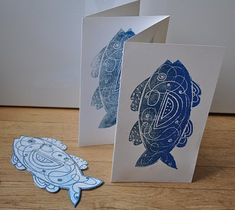 Scratch-Foam, cutting the foam into shapes. Use a pencil to draw the outline of the fish directly on the foam. After cutting it out, press lines onto the fish to add the detail that you see in the picture. Roll printing ink with a rubber brayer directly onto the surface of the fish and press onto paper to transfer ink.