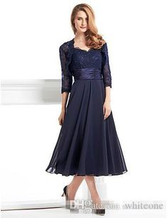 A-Line V Neck Tea Length Chiffon / Corded Lace Mother of the Bride Dress with Appliques / Lace / Pleats by LAN TING BRIDE® / Illusion Sleeve - ! Catch it now from LightInTheBox > Mob Dresses, Prom Party Dresses, Plus Size Dresses, Wedding Dresses, Prom Gowns, Dress Party, Beach Dresses, Bohemian Dresses, Dress Outfits