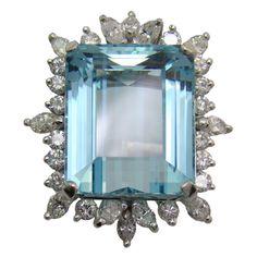 Aquamarine, Diamond & White Gold Ring circa 1950's