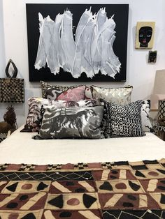 Maggi Mcdonald artwork with cushions from Bonnie and Neil and Coca Mojo with African textiles.