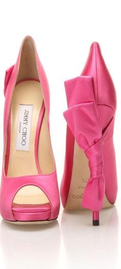 Jimmy Choo ~ Spring Pink Peep Toe Pumps w Large Heel Bow