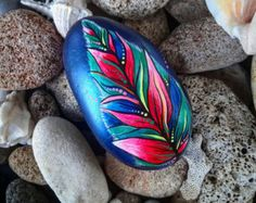 Colorfull Painted Feather Pebble Style- Natural Eco Nature Stone Rock  Art Craft Handmade Home, Office & Garden Decor.
