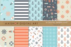 Digital Paper - Nautical by Maishop Digital Art on Creative Market