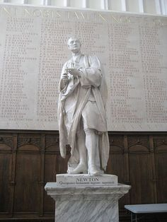 Isaac Newton by Louis-François Roubiliac in Trinity College Chapel,Cambridge, England (UK).Sculptor Louis-François Roubiliac