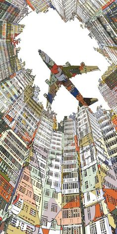 Kowloon Walled City Art Block - In the work of Japanese artist HR-FM, digital illustration meets pop art. Art And Illustration, Illustrations, Kowloon Walled City, Perspective Drawing, Three Point Perspective, Arte Pop, Art Graphique, City Art, Grafik Design