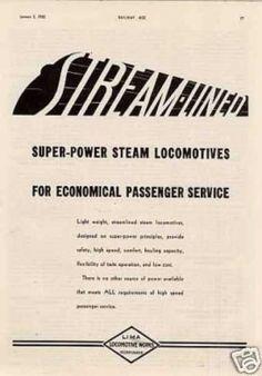 "Lima Locomotive Ad ""Streamlined Super-power... (1935)"