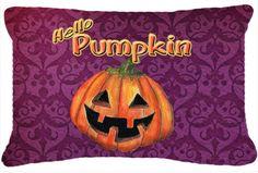 Hello Pumpkin Halloween Indoor/Outdoor Throw Pillow