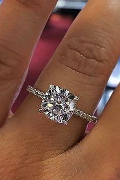 36 Simple Engagement Rings For Girls Who Love Classic ❤️ simple engagement rings diamond cushion cut pave band ❤️ See more: http://www.weddingforward.com/simple-engagement-rings/ #weddingforward #wedding #bride #engagementrings #simpleengagementrings