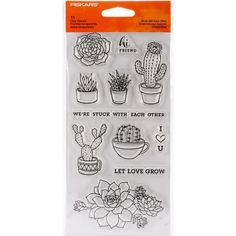 Fiskars Stuck With Each Other Clear Stamp Set Cactus Flower Plant Phrases