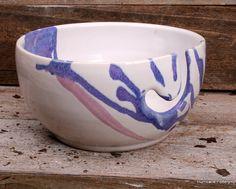 Yarn Bowl White Pink Blue Purple Knitting Bowl by HurricanePottery