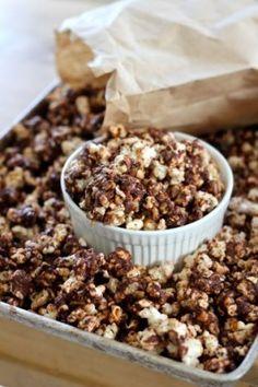 Dark chocolate and peanut butter popcorn