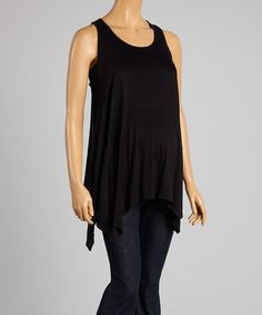 This Black Maternity Sidetail Tank - Women is perfect! #zulilyfinds