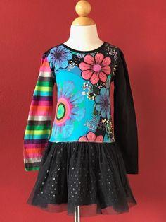 DESIGUAL Girls Floral Sequined Tulle Dress Size 5-6 #Desigual
