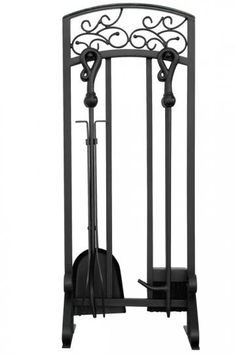 Set of 4 Pewter and Black Wrought Iron Fireplace Tools - #U9744 ...