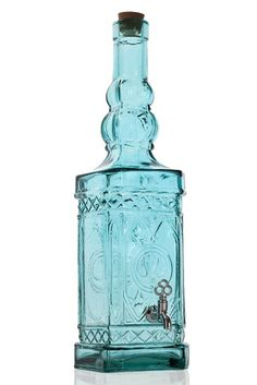SPANISH GLASS - 47cm Teal Bottle With Lid