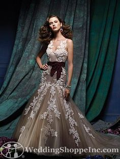Alfred Angelo  876 | Stunning colored wedding dresses from the Wedding Shoppe! #lace #bridalgowns http://www.weddingshoppeinc.com