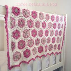 African flowers crochet cot blanket