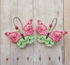 Christmas Butterfly Earrings. Plastic Shrink Art by MeadowArtShop, $16.00