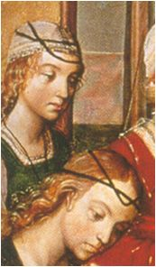 Narrow bands alone and over cofias. Hacia 1480. La virgen y los pretendientes, Pedro Berruguete, Iglesia de Santa Eulalia, Paredes de Nava, Palencia (detalle