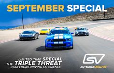 Triple Threat Package Arrives Just in Time for Labor Day Weekend – Enjoy 8 laps total in 3 cars for just $485 https://speedvegas.com/en/driving-experience-packages/triple-threat/121#utm_sguid=164775,1e62e67f-293b-54fc-0670-c61d2fd0eac1