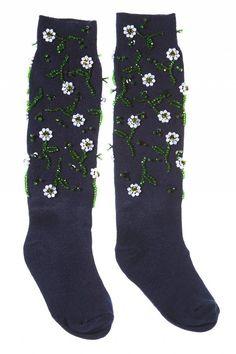 Anouki Navy Embellished socks
