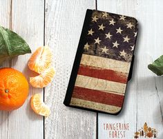 Rustic Stars & Stripes Wallet Case. iPhone 4//4s, 5c or 5//5s. Samsung Galaxy S3 or S4.