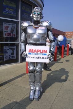 Maplin's very own - Robot Man - drumming up attention at a store opening event