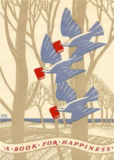 """A Book for Happiness""  (1936) by Gwendoline White (Artist, UK). National Book Token Card. Book Coupon. Gift Card. Trees, Bluebirds, Books, Gifts. © Mike Ashworth Collection, London, England. For more 'book token' info:  http://en.wikipedia.org/wiki/Book_token"