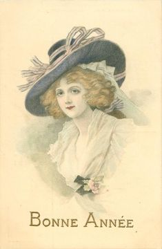 half length study of elegantly dressed girl in wide-brimmed hat, filmy dress with rose corsage, faces partly left, looks front