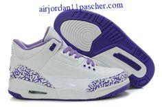 Femmes Air Jordan 3 Blanc Violet Chaussures