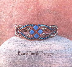 Blue Silver Beaded Leather Wrap Cuff Bracelet - The Diamond Duchess in Blue…