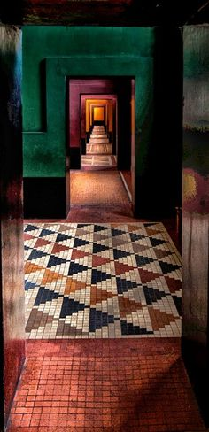 Straight ahead. I love the colours, the mosaic floors, the suite rooms. This picture makes me <3