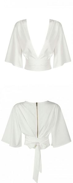 deep V white top - #shirt  find it in choies.com