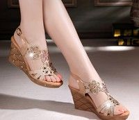 35eaf86d3 2015 summer new European and American women s shoes slope with high-heeled  sandals Roman fashion rhinestone sandals