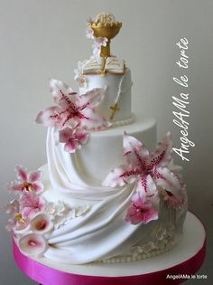 Lidia cake - cake by AngelaMa Le Torte Beautiful Wedding Cakes, Gorgeous Cakes, Nature Cake, Lily Cake, Religious Cakes, First Communion Cakes, Baking Cupcakes, Cake Boss, Occasion Cakes