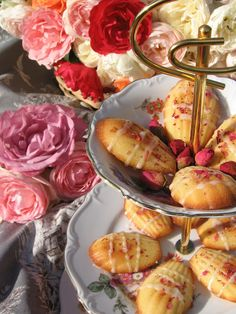 Lost in Austen: Rose Water Madeleines Madeleine Recipe, Afternoon Tea Parties, Water Recipes, Tea Cakes, Rose Water, High Tea, Tea Time, Sweet Tooth, Dessert Recipes