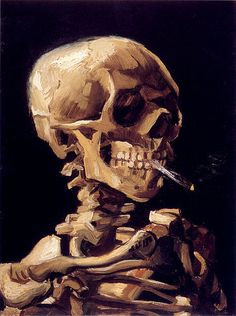 Skull with a burning cigarette, Vincent Van Gogh: 1885.