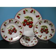 Red Cherry Dinnerware Dinner Set 20 Pcs Plates Dishes Cherries Kitchen Decor Home