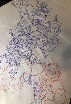 Bisha-monten Back piece tattoo 毘沙門天 Japanese Tattoo Artist, Japanese Flower Tattoo, Japanese Dragon Tattoos, Japanese Tattoo Designs, Japanese Flowers, Japanese Artists, Amsterdam Tattoo, Back Piece Tattoo, Arm Sleeve Tattoos